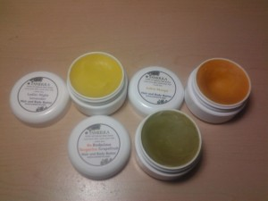 A Trio of Yamerra Hair and Body Butters, from L to R:  Ladies Night Lavender, Sultry Mango, Be Bodacious Tangeringe Grapefruit